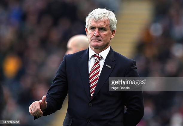 Mark Hughes Manager of Stoke City looks on during the Premier League match between Hull City and Stoke City at the KCom Stadium on October 22 2016 in...