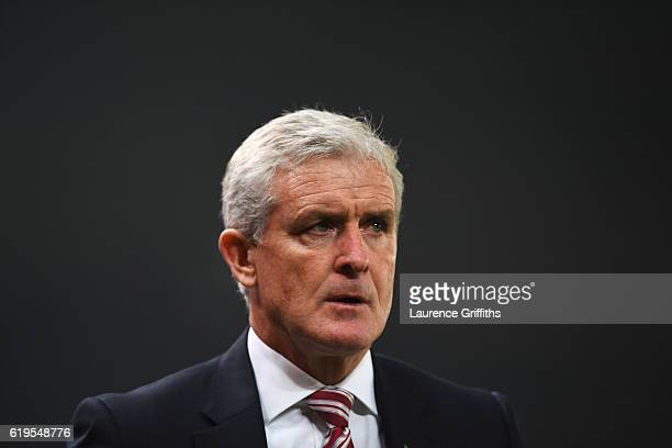 Mark Hughes manager of Stoke City looks on during the Premier League match between Stoke City and Swansea City at Bet365 Stadium on October 31 2016...