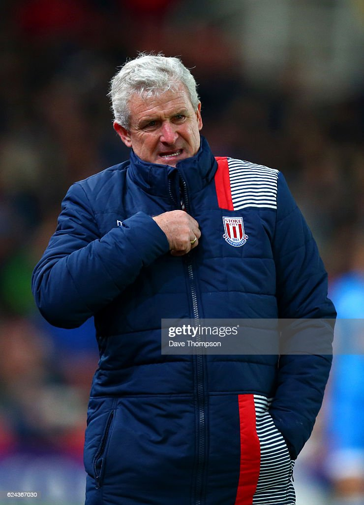 Mark Hughes, Manager of Stoke City looks on during the Premier League match between Stoke City and AFC Bournemouth at Bet365 Stadium on November 19, 2016 in Stoke on Trent, England.
