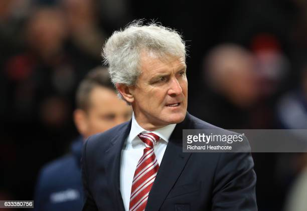 Mark Hughes Manager of Stoke City looks on during the Premier League match between Stoke City and Everton at Bet365 Stadium on February 1 2017 in...