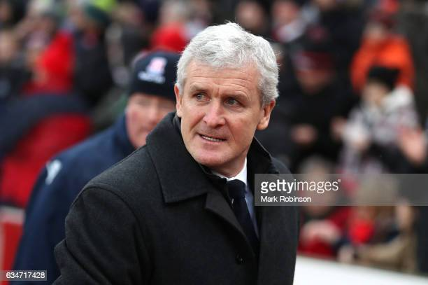 Mark Hughes Manager of Stoke City looks on during the Premier League match between Stoke City and Crystal Palace at Bet365 Stadium on February 11...