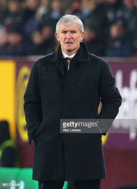 Mark Hughes Manager of Stoke City looks on during the Premier League match between Burnley and Stoke City at Turf Moor on December 12 2017 in Burnley...