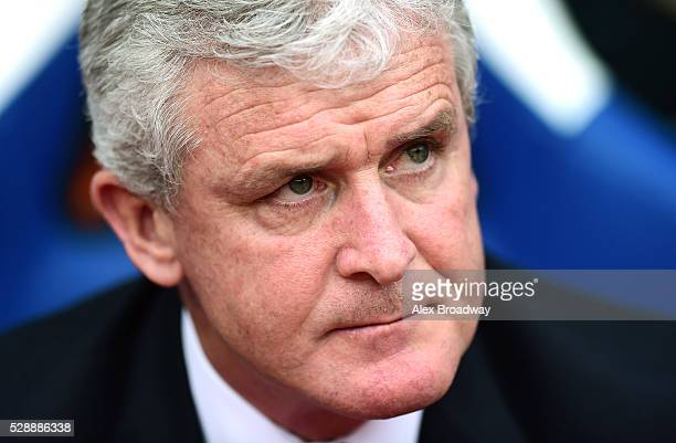 Mark Hughes manager of Stoke City looks on prior to the Barclays Premier League match between Crystal Palace and Stoke City at Selhurst Park on May 7...