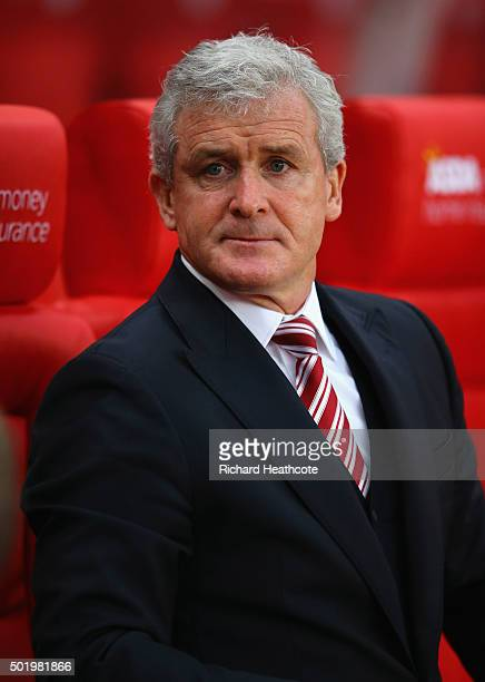 Mark Hughes manager of Stoke City ooks on prior to the Barclays Premier League match between Stoke City and Crystal Palace at the Britannia Stadium...
