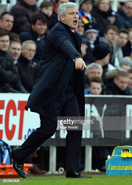 Mark Hughes manager of Stoke City reacts during the Barclays Premier League match between Newcastle United and Stoke City at St James' Park on...
