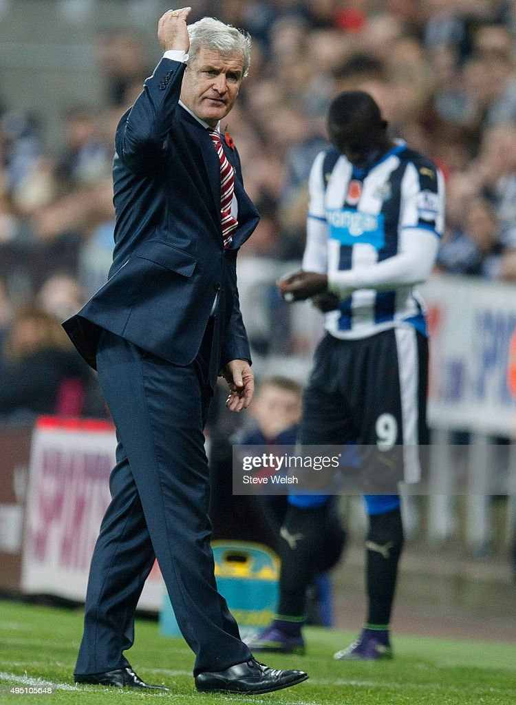 Mark Hughes manager of Stoke City reacts during the Barclays Premier League match between Newcastle United and Stoke City at St James' Park on October 31, 2015 in Newcastle upon Tyne, England.
