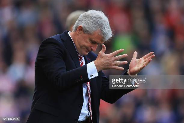 Mark Hughes Manager of Stoke City reacts during the Premier League match between Stoke City and Arsenal at Bet365 Stadium on May 13 2017 in Stoke on...