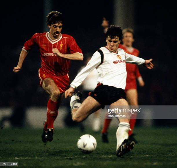 Mark Hughes of Manchester United scores the winning goal in the FA Cup SemiFinal Replay between Manchester United v Liverpool played at Maine Road in...