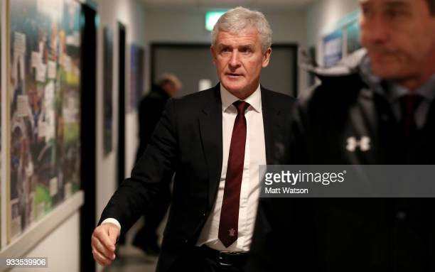 Mark Hughes of Southampton ahead of the FA Cup Quarter Final match between Wigan Athletic and Southampton FC at the DW Stadium on March 18 2018 in...