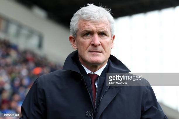 Mark Hughes of Southampton during the FA Cup Quarter Final match between Wigan Athletic and Southampton FC at the DW Stadium on March 18 2018 in...