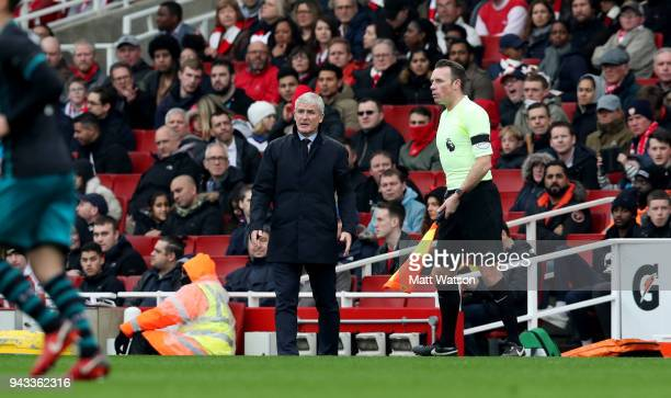Mark Hughes of Southampton during the Premier League match between Arsenal and Southampton at Emirates Stadium on April 8 2018 in London England