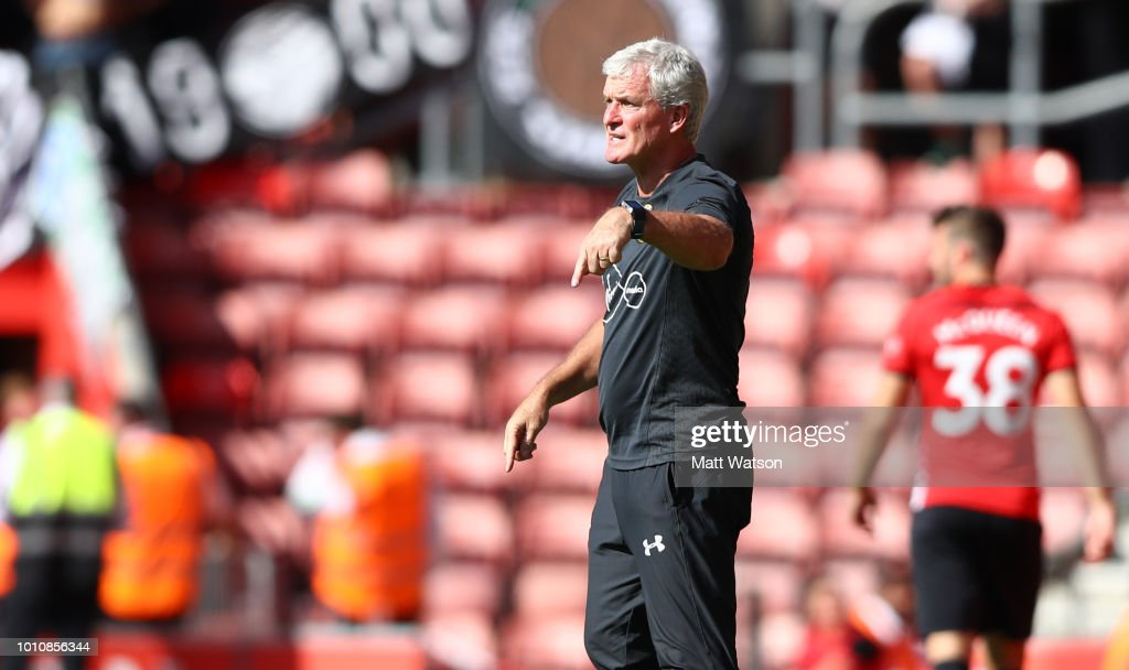 Mark Hughes of Southampton gives instructions during the pre-season friendly match between Southampton and Borussia Monchengladbach at St Mary's Stadium on August 4, 2018 in Southampton, England.