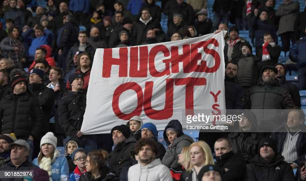 Mark Hughes out banner during the The Emirates FA Cup Third Round match between Coventry City and Stoke City at Ricoh Arena on January 6 2018 in...