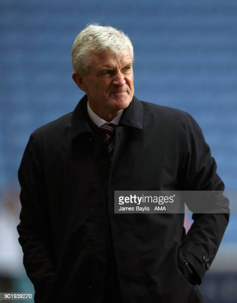 Mark Hughes the head coach / manager of Stoke City during The Emirates FA Cup Third match between Coventry City and Stoke City at Ricoh Arena on...