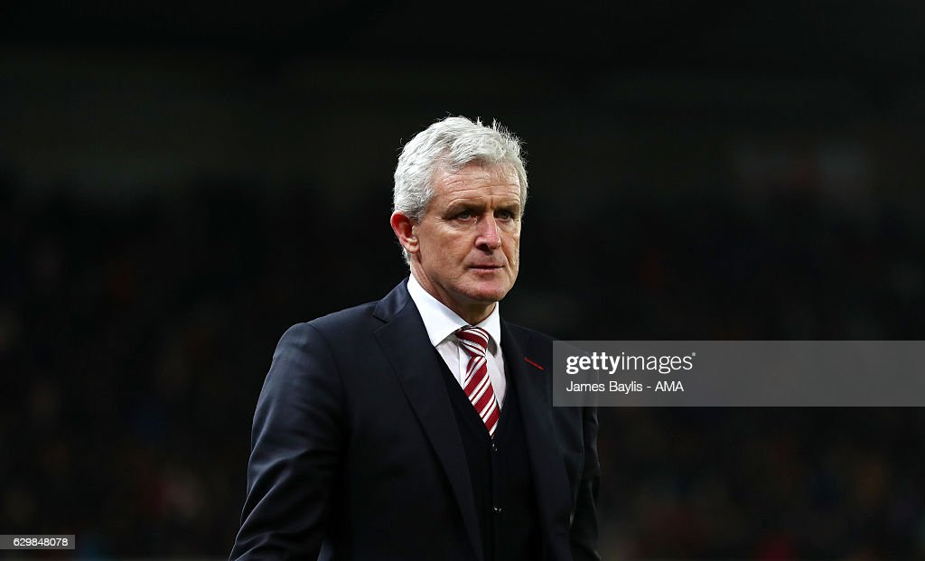 Mark Hughes the head coach / manager of Stoke City during the Premier League match between Stoke City and Southampton at Bet365 Stadium on December 14, 2016 in Stoke on Trent, England.