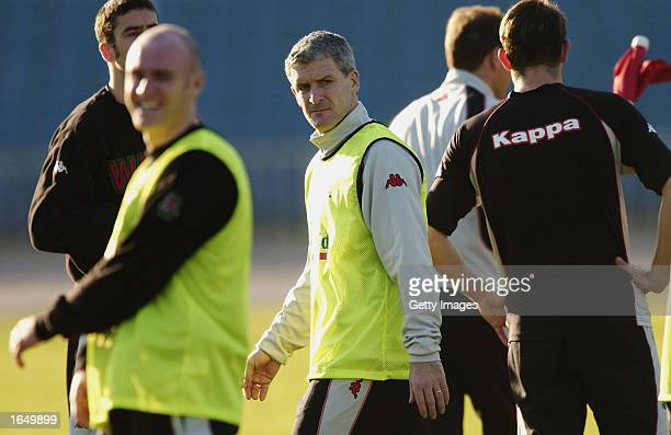 Mark Hughes the Welsh Manager during Wales team training in Baku Azerbaijan on November 19 2002