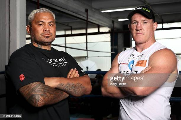Mark Hunt and Paul Gallen pose during a media opportunity ahead of Sydney Super Fight, at North Melbourne Boxing and Fitness on December 08, 2020 in...