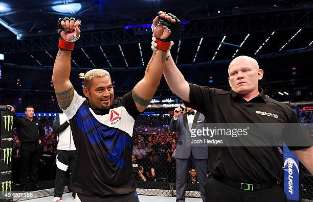 Mark Hunt celebrates his win by TKO over Antonio Silva in their heavyweight bout during the UFC 193 event at Etihad Stadium on November 15 2015 in...