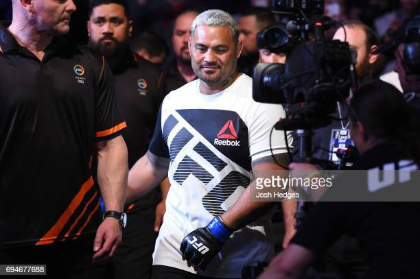 Mark Hunt of New Zealand prepares to enter the Octagon before facing Derrick Lewis in their heavyweight fight during the UFC Fight Night event at the...