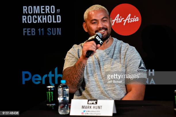 Mark Hunt of New Zealand speaks to the media during the UFC 221 Press Conference at Perth Arena on February 7 2018 in Perth Australia