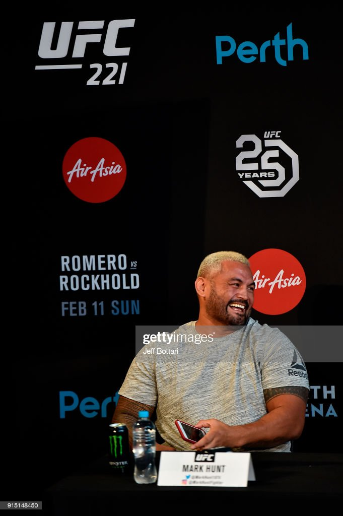 Mark Hunt of New Zealand speaks to the media during the UFC 221 Press Conference at Perth Arena on February 7, 2018 in Perth, Australia.
