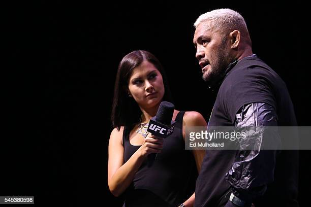 Mark Hunt speaks with UFC's Megan Olivi after his open workout for the fans and media at the TMobile Arena on July 7 2016 in Las Vegas Nevada