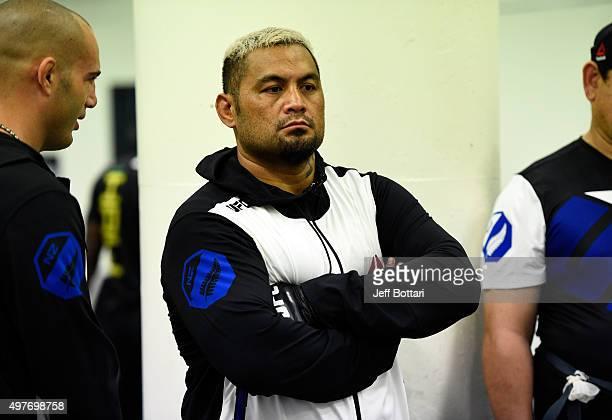 Mark Hunt waits backstage during the UFC 193 event at Etihad Stadium on November 15 2015 in Melbourne Australia