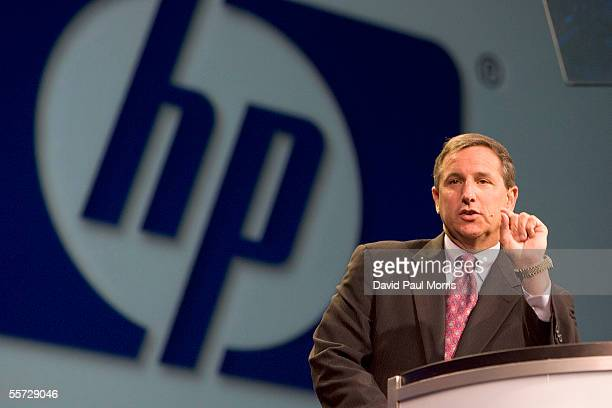 Mark Hurd President and CEO of Hewlett Packard delivers a keynote speech at the Oracle Open World 2005 conference at the Moscone Center on September...
