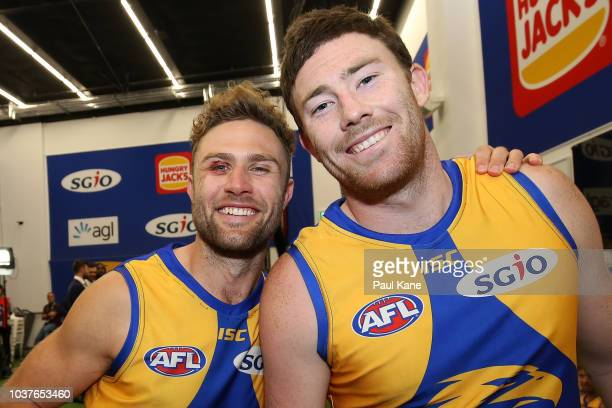 Mark Hutchings and Josh Kennedy of the Eagles pose after winning the AFL Preliminary Final match between the West Coast Eagles and the Melbourne...