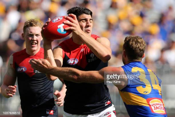Mark Hutchings of the Eagles tackles Christian Petracca of the Demons during the AFL Preliminary Final match between the West Coast Eagles and the...