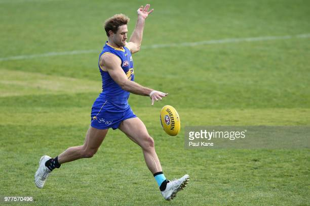 Chris Masten looks on during a West Coast Eagles AFL training session at Subiaco Oval on June 18 2018 in Perth Australia