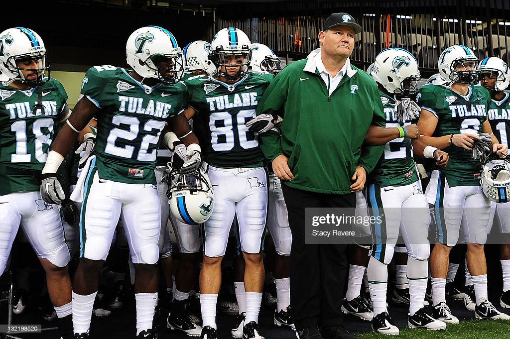 Mark Hutson, head coach of the Tulane Green Wave waits to take the field against the University of Houston Cougars during a game being held at the Mercedes-Benz Superdome on November 10, 2011 in New Orleans, Louisiana.