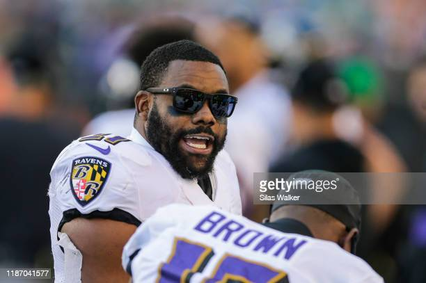 Mark Ingram II of the Baltimore Ravens stands on the sideline during the game against the Cincinnati Bengals at Paul Brown Stadium on November 10,...
