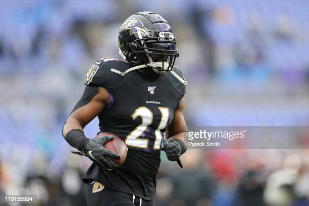 Mark Ingram II of the Baltimore Ravens warms up before the game against the San Francisco 49ers at M&T Bank Stadium on December 01, 2019 in...