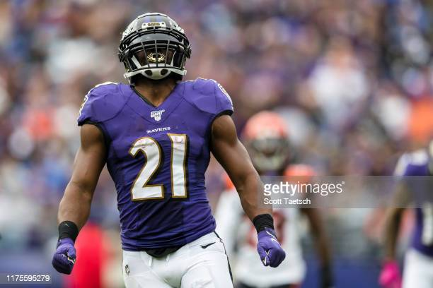 Mark Ingram of the Baltimore Ravens reacts against the Cincinnati Bengals during the first half at M&T Bank Stadium on October 13, 2019 in Baltimore,...