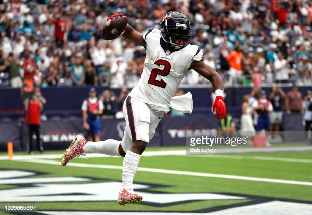 Mark Ingram of the Houston Texans celebrates after a 1-yard touchdown run against the Jacksonville Jaguars during the first quarter at NRG Stadium on...