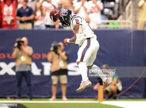 Mark Ingram of the Houston Texans celebrates following his touchdown against the Jacksonville Jaguars during the first quarter at NRG Stadium on...