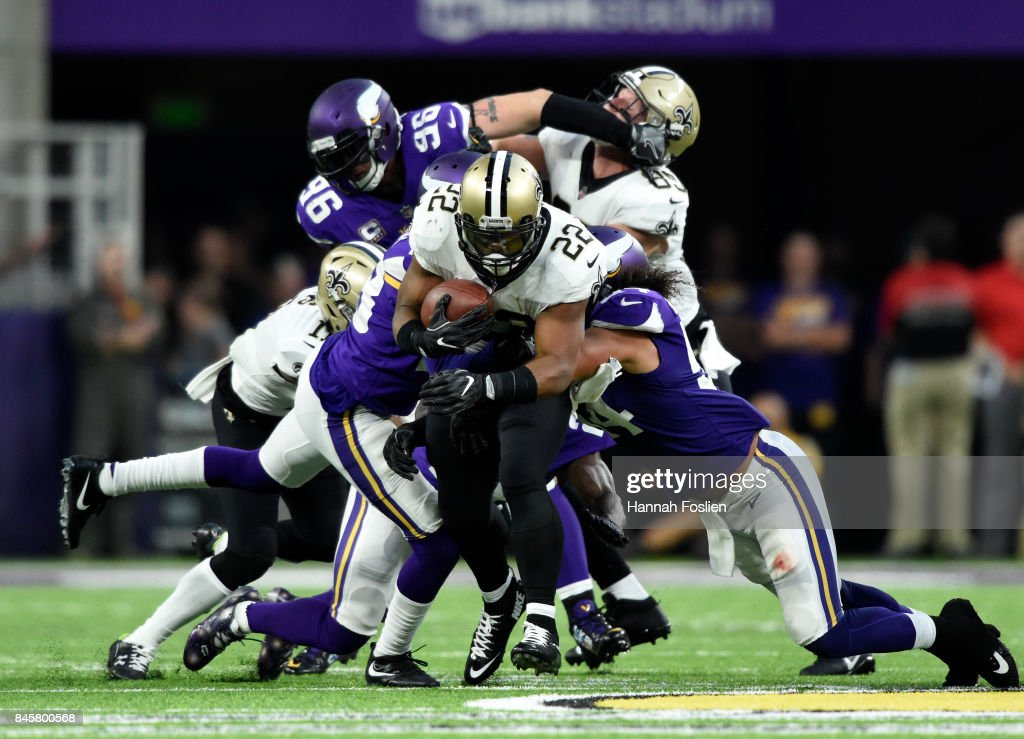 Mark Ingram #22 of the New Orleans Saints carries the ball in the first half of the game against the Minnesota Vikings on September 11, 2017 at U.S. Bank Stadium in Minneapolis, Minnesota.