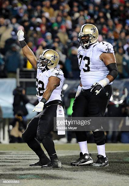 Mark Ingram of the New Orleans Saints celebrates after running for a 4 yard touchdown in the third quarter against the Philadelphia Eagles during...