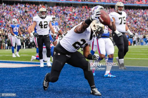 Mark Ingram of the New Orleans Saints celebrates after scoring a touchdown during the first quarter against the Buffalo Bills on November 12 2017 at...