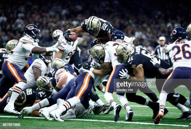 Mark Ingram of the New Orleans Saints scores a touchdown against the Chicago Bears during the second quarter at the MercedesBenz Superdome on October...
