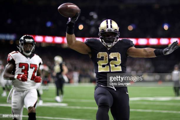 Mark Ingram of the New Orleans Saints scores a touchdown during the second half of a game against the Atlanta Falcons at the MercedesBenz Superdome...