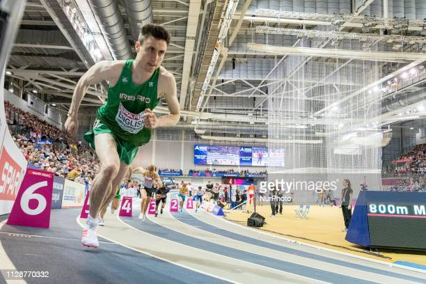 Mark IRL competing in the 800m Men event during day ONE of the European Athletics Indoor Championships 2019 at Emirates Arena in Glasgow Scotland...