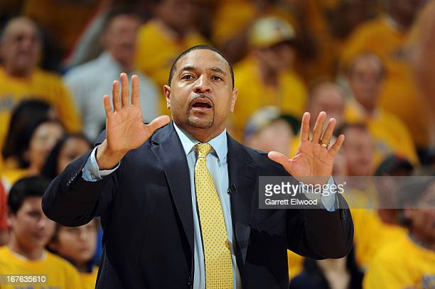 Mark Jackson Head Coach of the Golden State Warriors reacts in Game Three of the Western Conference Quarterfinals against the Denver Nuggets during...