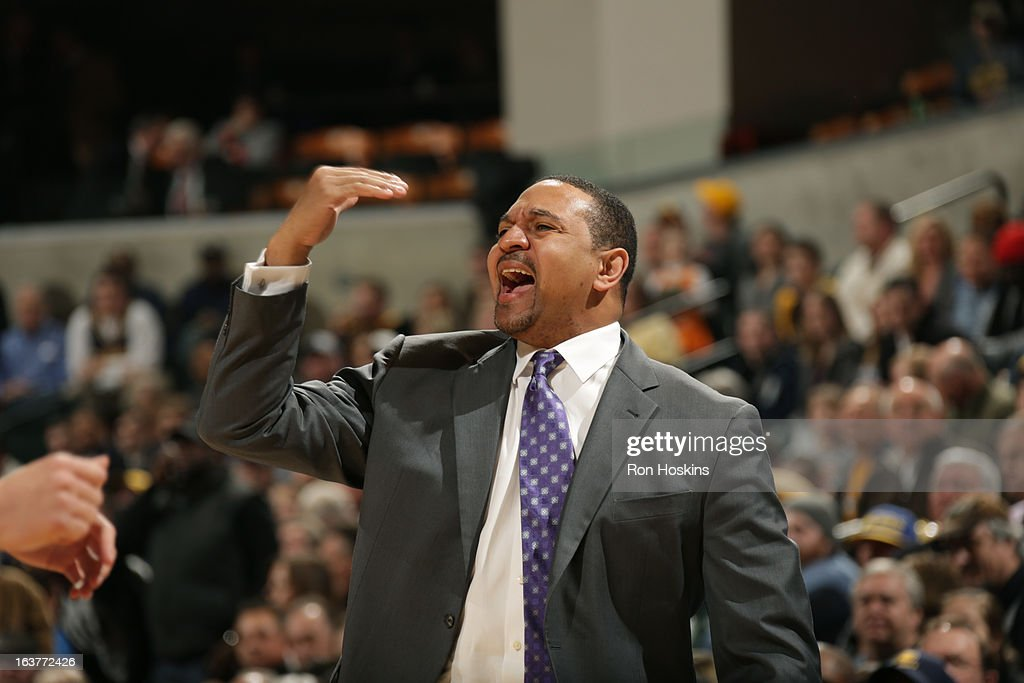 Mark Jackson of the Golden State Warriors calls plays from the bench during the game against the Indiana Pacers on February 26, 2013 at Bankers Life Fieldhouse in Indianapolis, Indiana.