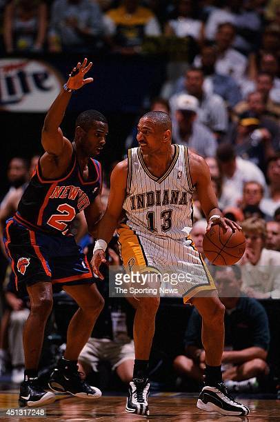 Mark Jackson of the Indiana Pacers goes up against Charlie Ward of the New York Knicks in Game Two of the Eastern Conference Finals on May 25 2000 at...