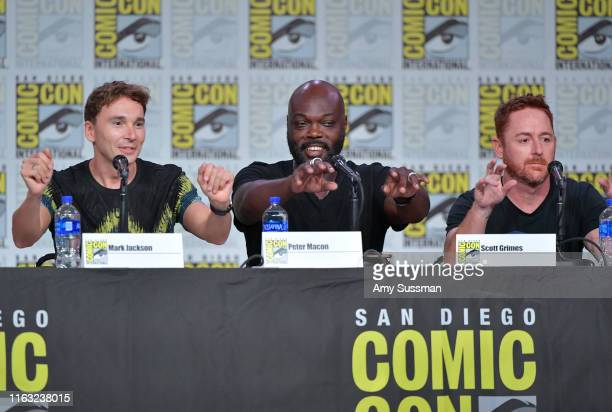 Mark Jackson Peter Macon and Scott Grimes speak at The Orville Panel during 2019 ComicCon International at San Diego Convention Center on July 20...