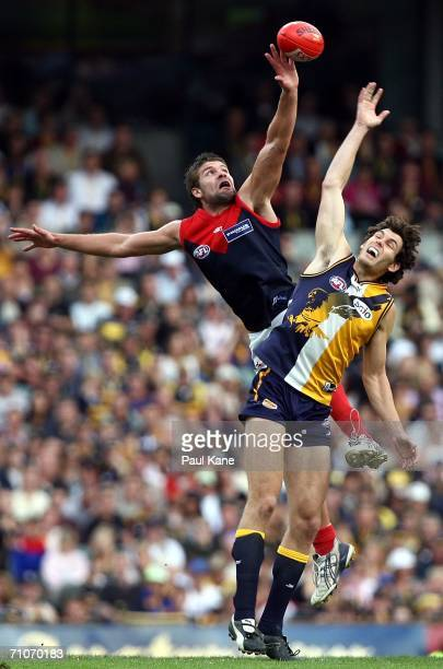 Mark Jamar of the Demons contests the ruck with Mark Seaby of the Eagles during the round nine AFL match between the West Coast Eagles and the...
