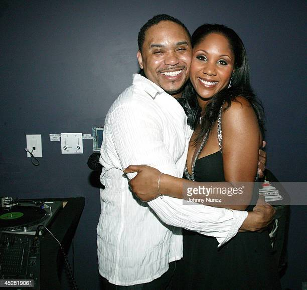 DJ Mark James and Aisha Morris during Stevie Wonder Hosts Daughter Aisha Morris's 30th Birthday at BED in New York City New York United States