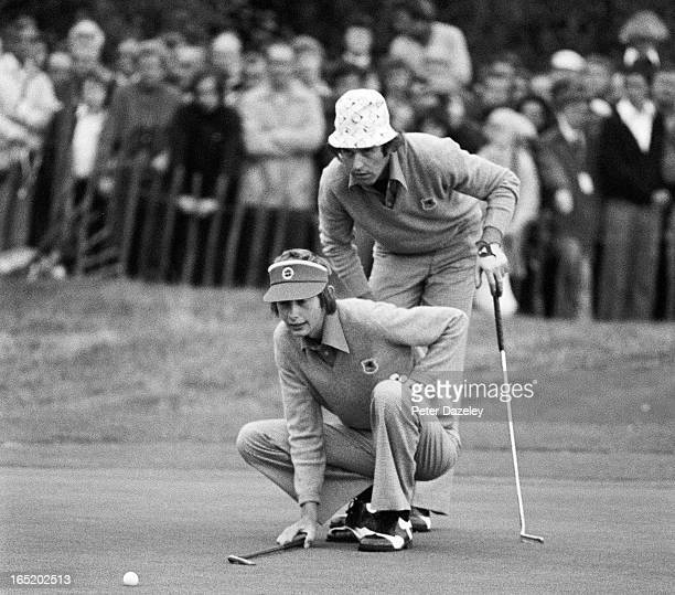 Mark James and Ken Brown of England in their four ball match during the second day of the 1977 Ryder Cup Matches at Royal Lytham and St Annes Golf...